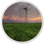 Round Beach Towel featuring the photograph Windmill Mammatus by Aaron J Groen