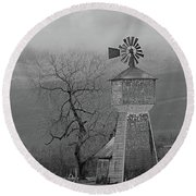 Round Beach Towel featuring the photograph Windmill Of Old by Suzy Piatt