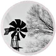 Windmill On The Farm Round Beach Towel