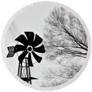 Round Beach Towel featuring the photograph Windmill On The Farm by Nicole Lloyd