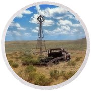 Windmill Over Lenzen Round Beach Towel