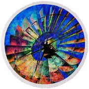 Windmill Power Round Beach Towel