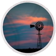 Windmill Sunset Round Beach Towel