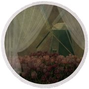 Round Beach Towel featuring the photograph Windmill Through Laced Curtain by Jeff Burgess