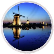 Windmills At Dusk In The Blue Hour Round Beach Towel