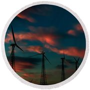 Windmills At Sunrise Round Beach Towel by Chris Tarpening