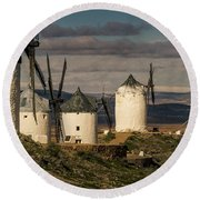 Round Beach Towel featuring the photograph Windmills Of La Mancha by Heiko Koehrer-Wagner