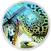 Round Beach Towel featuring the painting Windmills Of  La Mancha by Valerie Anne Kelly