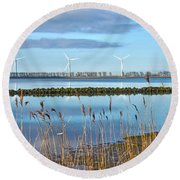 Round Beach Towel featuring the photograph Windmills On A Windless Morning by Frans Blok