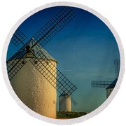 Round Beach Towel featuring the photograph Windmills Under Blue Sky by Heiko Koehrer-Wagner