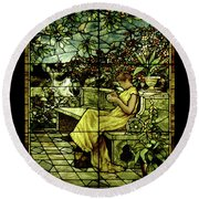 Window - Lady In Garden Round Beach Towel by Shirley Heyn