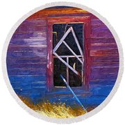 Round Beach Towel featuring the photograph Window-1 by Susan Kinney