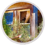 Round Beach Towel featuring the photograph Window 2 by Susan Kinney