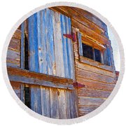 Round Beach Towel featuring the photograph Window 3 by Susan Kinney