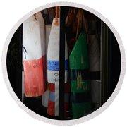 Window Buoys Key West Round Beach Towel by Expressionistart studio Priscilla Batzell