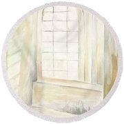 Round Beach Towel featuring the painting Window by Darren Cannell