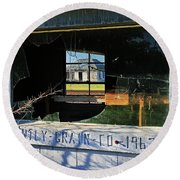 Round Beach Towel featuring the photograph Window History by Christopher McKenzie