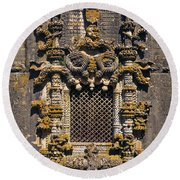 Window In Convent Of Christ - Tomar Round Beach Towel