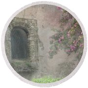 Window In The Wall Round Beach Towel