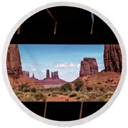 Window Into Monument Valley Round Beach Towel