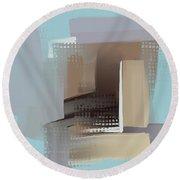 Round Beach Towel featuring the mixed media Window Morning View by Eduardo Tavares
