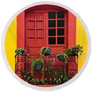 Window On Mexican House Round Beach Towel