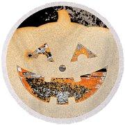 Window Pumpkin #3 Round Beach Towel