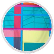 Window Reflections Round Beach Towel