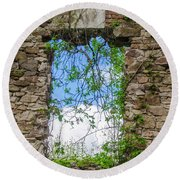 Round Beach Towel featuring the photograph Window Ruin At Bridgetown Millhouse Bucks County Pa by Bill Cannon