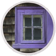 Purple Window - Window Series 04 Round Beach Towel