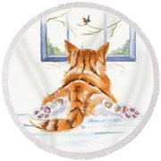 Window Shopping Round Beach Towel