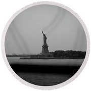 Window To Liberty Round Beach Towel