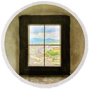 Window To Salzburg Round Beach Towel