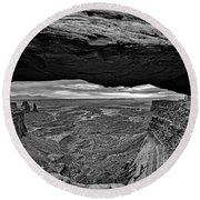Window To The Canyon Below Round Beach Towel