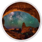 Window To The Heavens Round Beach Towel