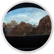 Window To Zion Round Beach Towel