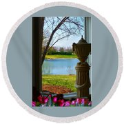Window View Pond Round Beach Towel