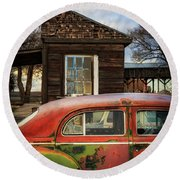 Round Beach Towel featuring the photograph Windows by Cat Connor