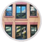 Window Reflections  Round Beach Towel by Susan Stone