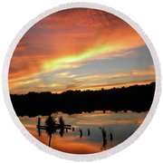 Windows From Heaven Sunset Round Beach Towel