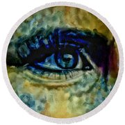 Windows Into The Soul Eye Painting Closeup All Seeing Eye In Blue Pink Red Magenta Yellow Eye Of Go Round Beach Towel by MendyZ