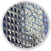 Round Beach Towel featuring the photograph Windows Of 2 World Financial Center 2 by Sarah Loft