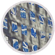 Round Beach Towel featuring the photograph Windows Of 2 World Financial Center 3 by Sarah Loft