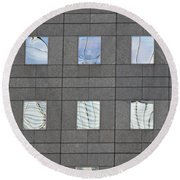 Round Beach Towel featuring the photograph Windows Of 2 World Financial Center   by Sarah Loft