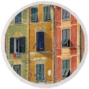 Windows Of Portofino Round Beach Towel