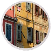 Windows Of Rovinj, Istria, Croatia Round Beach Towel