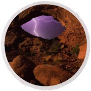 Round Beach Towel featuring the photograph Windows Storm by Darren White