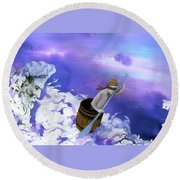 Round Beach Towel featuring the painting Winds Of Fate  by Rene Capone