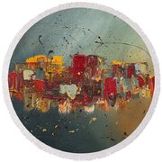 Round Beach Towel featuring the painting Winds Of Prosperity by Carmen Guedez