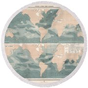 Winds Over The Oceans - Meteorological Map - Geological Map - Wind Direction And Speed Chart Round Beach Towel
